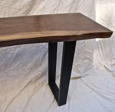 custom made live edge walnut console table by witness tree studios