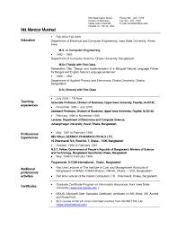 Sample Resume Format As Fresher For Lecturer Post New Sample Resume