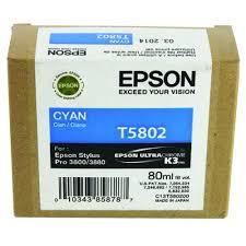 <b>Epson</b> T5802 Cyan Inkjet Cartridge C13T580200 / T5802 135 Sheets