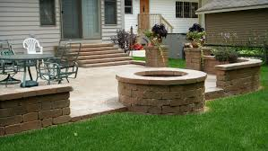 seemly fire pit plus paver patio in seat wall