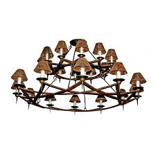 contemporary wrought iron two tier rusty chandelier