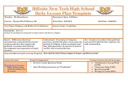 Lesson Plan Templates High School Hillside New Tech High School Daily Lesson Plan Template