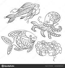 Set Animali Marini Immagine Grafica Vettoriale Pagine Colorare