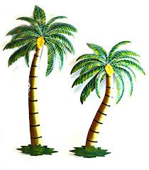 beautiful 37 quot metal set of 2 palm tree with coconuts tropical island wall art on palm tree wall art set with amazon beautiful 37 metal set of 2 palm tree with coconuts