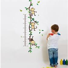 Monkey Growth Chart Wall Us 2 48 37 Off Monkeys Growth Chart Wall Decals Kids Playroom Decoration 1208 Animal Home Pvc Sticker Baby Mural Art Diy Adesivo De Parede 3 5 In