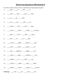 balancing equations e worksheet chemical chemistry free writing and physical science answers