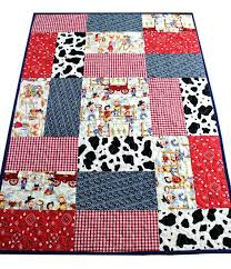 Western Baby Quilt Kits Baby Boy Quilt Baby Cowboy Quilt Western ... & ... This Adorable Cowboy Patchwork Quilt Is Handmade With Patches Of Cow  Print Red Bandana Western Cowboy Western Themed Baby ... Adamdwight.com