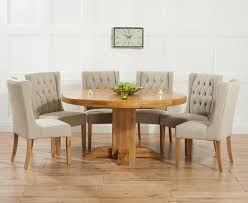 memphis solid oak 150cm round pedestal dining set with 4 mille beige chairs