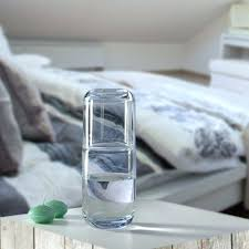 quench 2 piece bedside water carafe set with glass antique 1