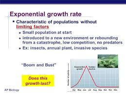 ap biology exponential growth rate characteristic of populations without limiting factors small population at