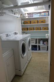 unfinished basement laundry room makeover. Add Some Organized Storage Unfinished Basement Laundry Room Makeover