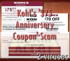 kohl s 75 anniversary coupon scam