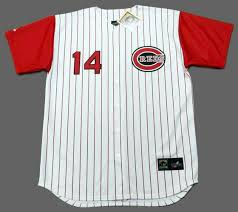 Majestic Baseball Reds Rose Cincinnati 1960's Jersey Pete Throwback