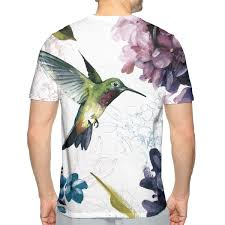 Nicokee 3d Print T Shirt Hummingbird Watercolor Painting