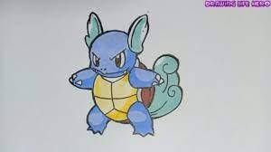 Vẽ Pokemon Rùa Nước Wartortle nhỏ bé và dễ thương