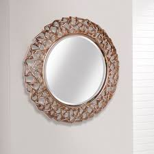 intricate rose gold round modern wall mirror