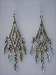 vintage mexican sterling silver stone inlay chandelier dangle earrings taxco