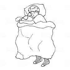 かわいい男の子が寝ているベッドベクター手書き落書きスケッチ抱っこ人形