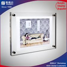 clear acrylic wall mounted cube floating picture photo image frame block with standofnets