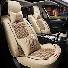 front rear leather ice silk car seat covers auto cushion for toyota prius