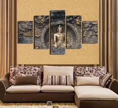Framed ready to hang andmade wall decoration buddha face oil painting on canvas. Buy 5pcs Buddha Statue Canvas Painting 5 Panel Wall Art Homaura