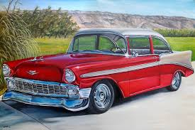 All Chevy chevy classic cars : Vintage Car | CUSTOM classic car original oil painting old antique ...