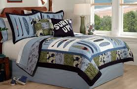surf wave quilt boys bedding set queen full or twin