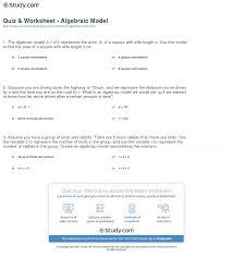 print algebraic model definition examples worksheet