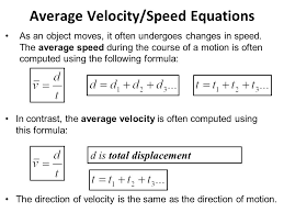 10 average velocity sd equations