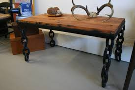 spectacular custom rectangular reclaimed wood table dining decors with four black iron chains base legs on gray flooring in white dining room furnishing