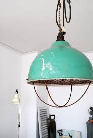 industrial pendant lamp in tiffany blue cafe
