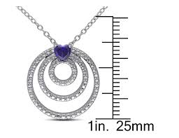 lab created blue sapphire triple circle heart pendant necklace 1 4 carat ctw
