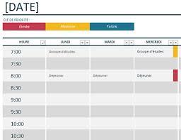 Calendrier Excel Planning Universitaire Hebdomadaire