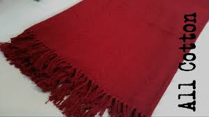 red cotton waffle throw bed or sofa rug blanket travel jacquard woven