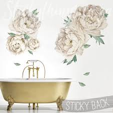 giant peonies wall decal in a bathroom