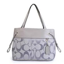 Coach Borough Logo Monogram Large Grey Totes FBP Give You The Best feeling!
