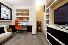 ideas for small home office. delighful home orange swivel chair and solid oak desk completing open home office ideas  with white bookshelves and for small w