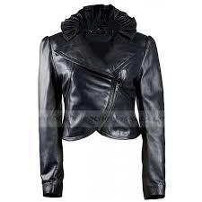 new look designer black leather biker jacket for womens