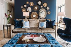 design with blue velvet furniture