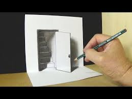 how to draw 3d hole stairs for kids anamorphic illusion 3d trick art on paper you