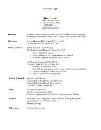 Resume For Hospital Job Cover Letter Sample