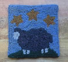 black sheep stars primitive rug hooking kit with 8 cut wool strips