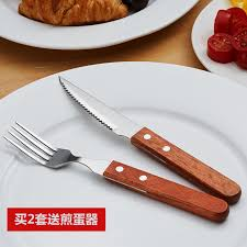 get ations wooden handle steak knife and fork cutlery set stainless steel tableware western european cutlery knife and
