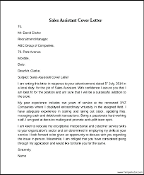 Cover Letter For Assistant Manager Position In Retail Sample Cover Letter Sales Assistant Sales Assistant Cover Letters