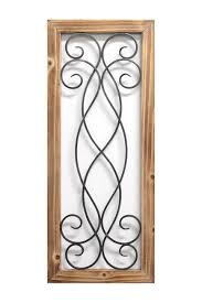 image of stratton home natural wood pewter scroll panel wall decor