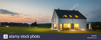 view modern house lights. Photo Of Modern House With Outdoor Lighting, At Night, External View Lights T