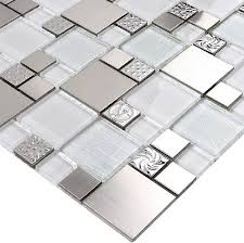 Installing Glass Mosaic Tile Backsplash Stunning Glass Mosaic Tile Backsplash SSMT48 Silver Metal Mosaic Stainless