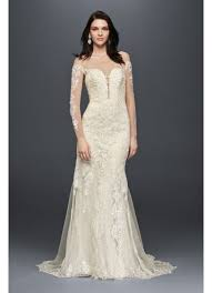 long sleeve illusion lace wedding dress david s bridal