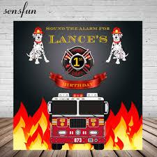 Fire Engine Design Studio Sensfun Fire Truck Theme Backdrop Firemen Dog Boys Birthday Party Banner Photography Backgrounds For Photo Studio Vinyl