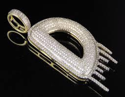 diamond letter d drip initial custom pendant charm 10k yellow gold 1 1 4 ct 2